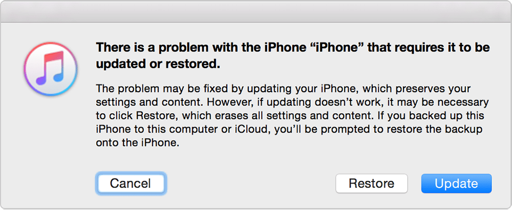 Update iPhone Via iTunes To Fix Attempting Data Recovery