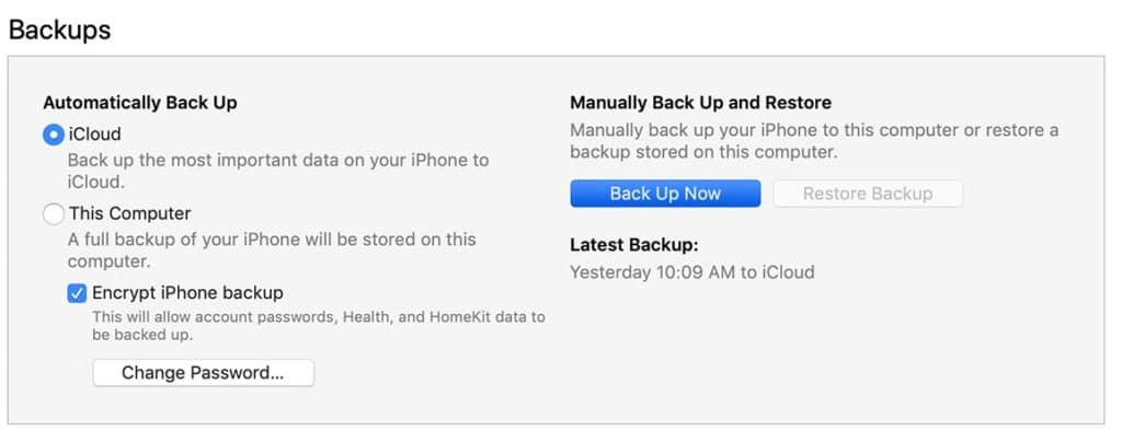 iOS 12 Backup iPhone to iTunes