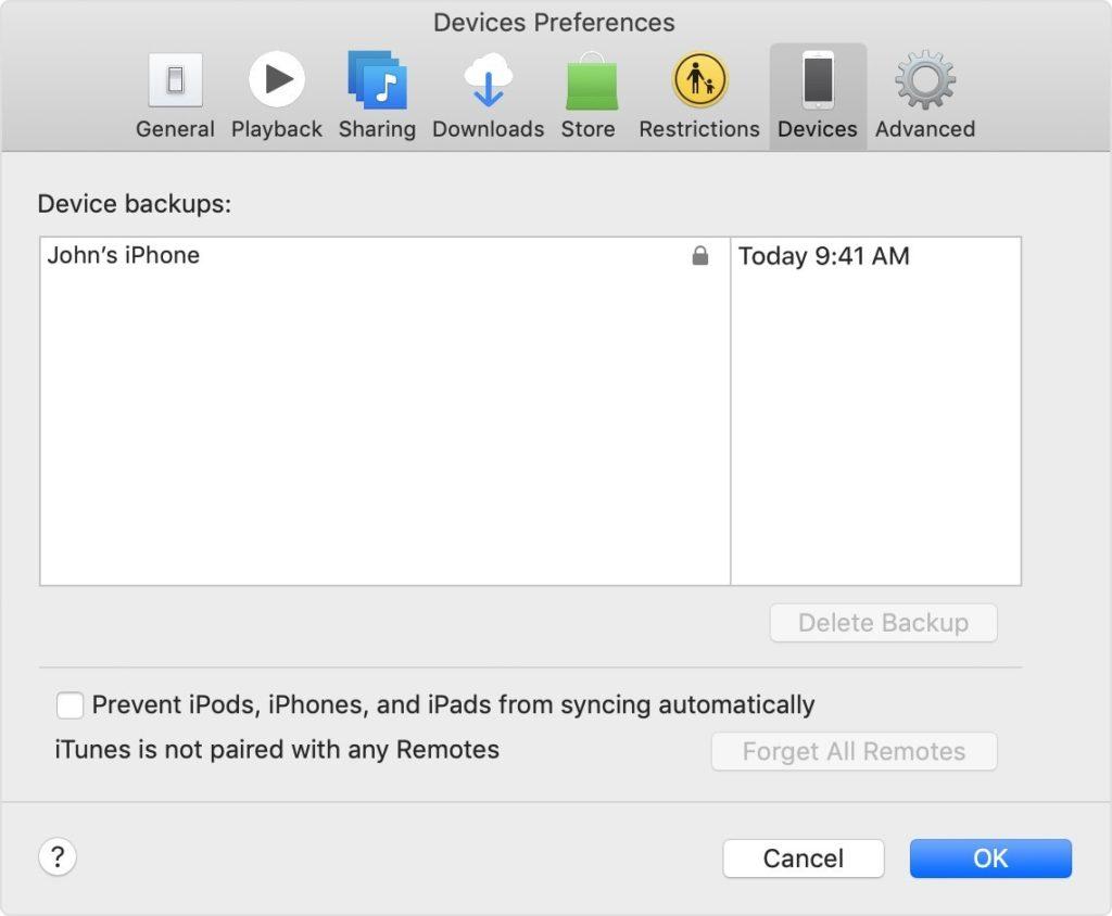 Checking iTunes Backup