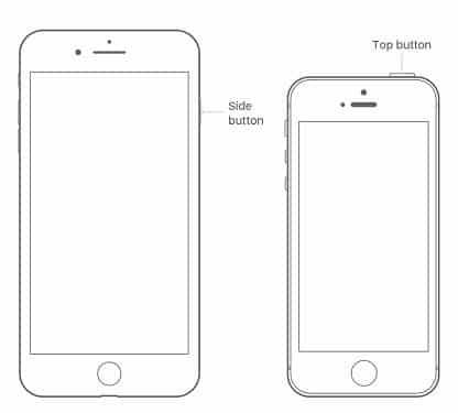 Restart iPhone 8, 7, 6, 5