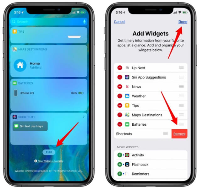 Reduce The Number Of Widgets On iPhone