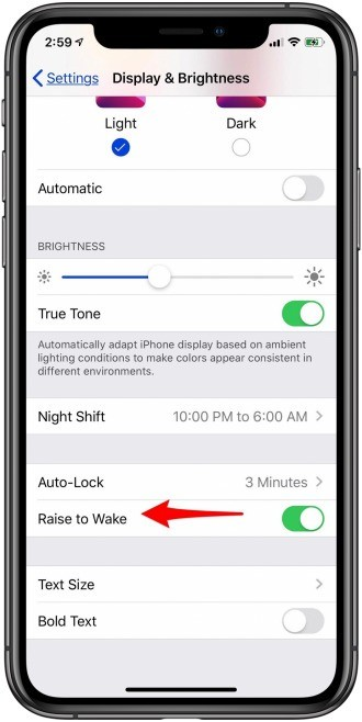 Turn On Raise To Wake Feature On iPhone