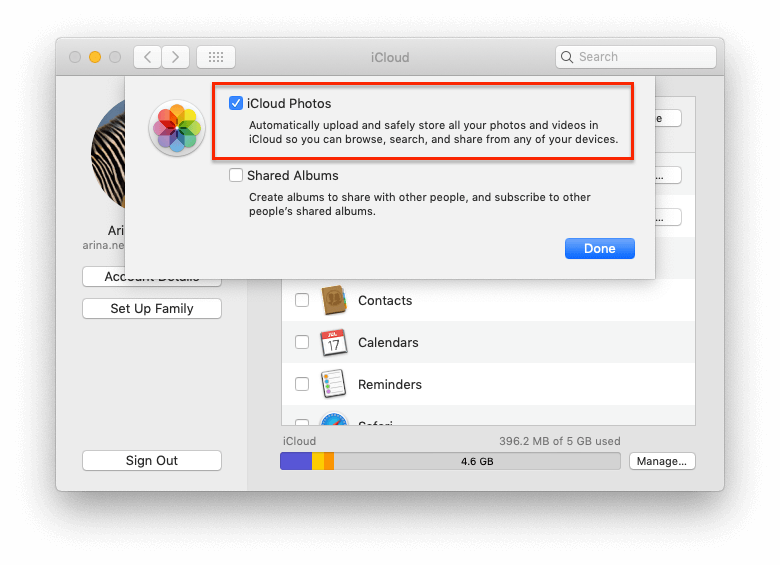 Enable iCloud Photos