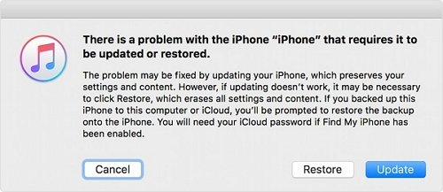 there is a problem with iphone that requires that requires it to be updated or restored