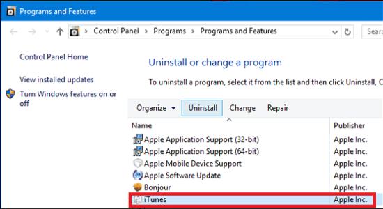 Uninstall iTunes On Windows 10