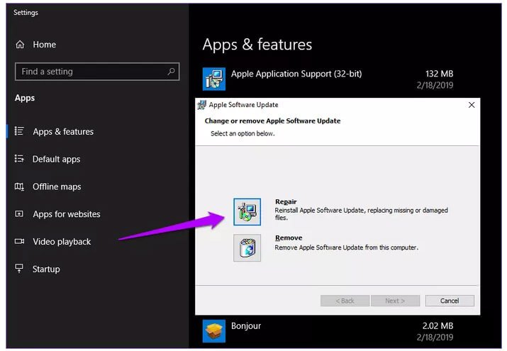 Repair Apple Software Update To Fix iTunes There Is A Problem With Windows Installer Package