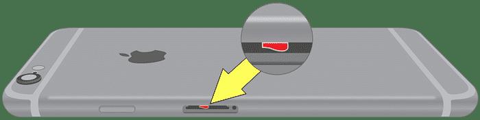 Liquid contact indicator iPhone 6 location